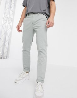 slim chinos in washed green