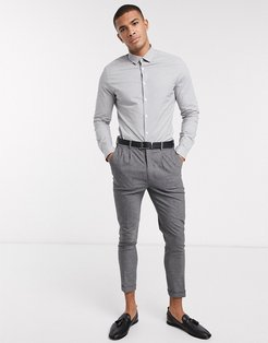 slim fit work shirt in gray & white micro check