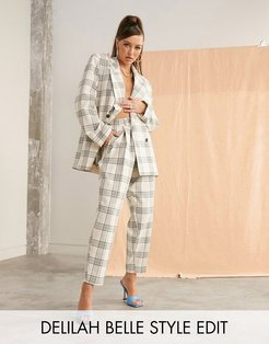 slim suit pants in light based check-Multi