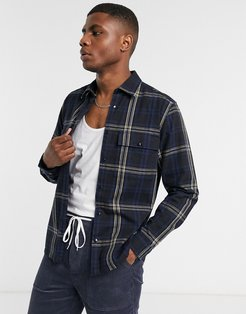 smart overshirt in navy and black check with straight hem