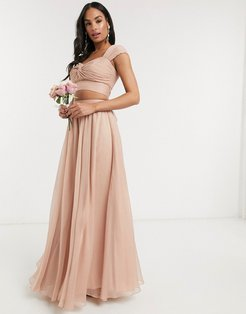 soft maxi skirt two-piece-Pink