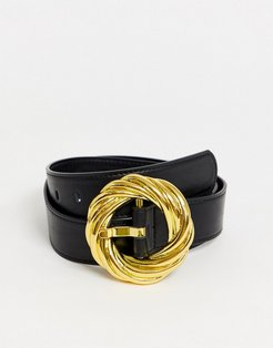 statement gold buckle waist and hip jeans belt in black