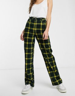 straight leg check cord pants-Multi
