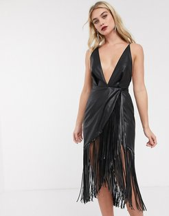 strappy back midi dress in PU with fringe hem-Black