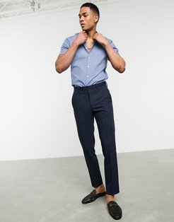 stretch skinny fit shirt in blue with grandad collar & short sleeves