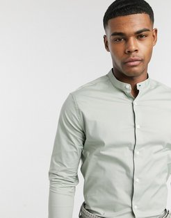 stretch skinny fit shirt in light green with grandad collar