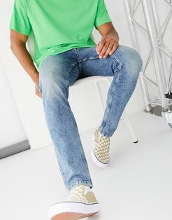 stretch slim jeans in tinted mid blue