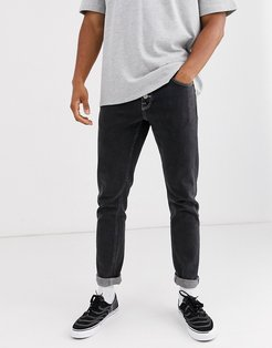 stretch slim jeans with exposed button fly in retro black