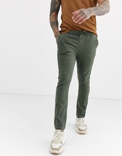 super skinny chinos with elastic waist in washed khaki-Green