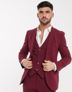 super skinny suit jacket in burgundy in four way stretch-Red