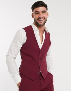 super skinny suit suit vest in burgundy in four way stretch-Red