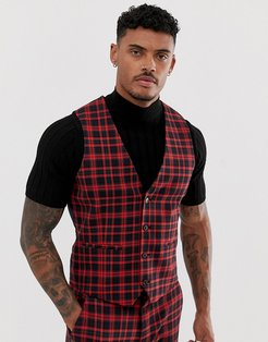 super skinny suit vest in red plaid check