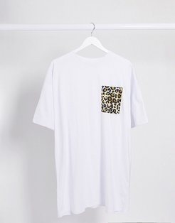 t-shirt dress with leopard print pocket in white