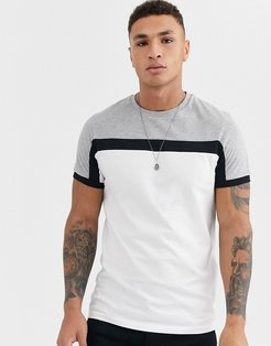 t-shirt with color block panels in white