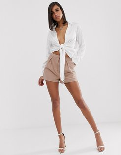 tailored a-line shorts with pleat front-Beige
