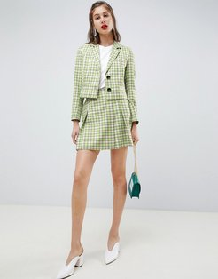 tailored mini skirt in yellow and green check-Multi