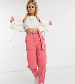 ASOS DESIGN Tall balloon leg worker pant with belt in coral acid wash-Red