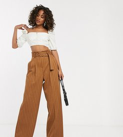 ASOS DESIGN Tall belted wide leg pants in pinstripe-Multi