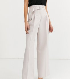 ASOS DESIGN Tall belted wide leg pants in stone