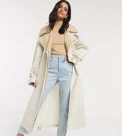 ASOS DESIGN Tall double layer oversized trench coat in stone-Beige
