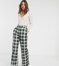 ASOS DESIGN Tall easy wide leg jogger in check-Multi
