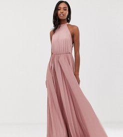 ASOS DESIGN Tall Halter Pleated Waisted Maxi Dress-Pink