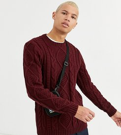 Tall heavyweight cable knit sweater in burgundy-Red