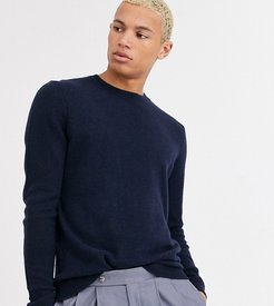 Tall lambswool sweater in charcoal-Navy