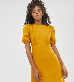 ASOS DESIGN Tall linen mini dress with puff sleeves-Yellow