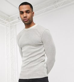 Tall muscle fit long sleeve waffle t-shirt in beige