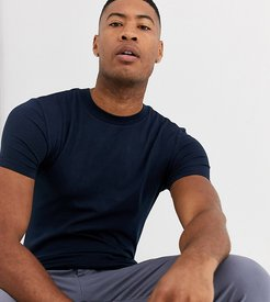 Tall organic muscle fit t-shirt with crew neck in navy