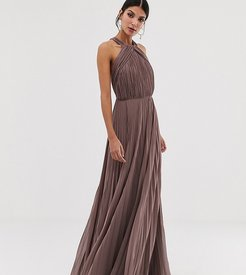 ASOS DESIGN Tall pleated bodice halter maxi dress-Pink