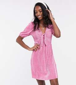 ASOS DESIGN Tall plisse mini dress with knot front in polka dot-Pink