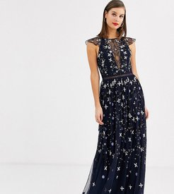 ASOS DESIGN Tall pretty embroidered floral and sequin mesh maxi dress-Multi