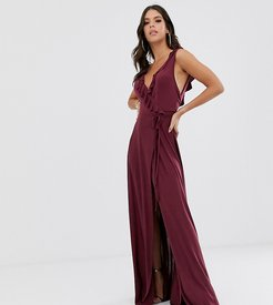 ASOS DESIGN Tall ruffle wrap maxi dress with tie detail-Purple