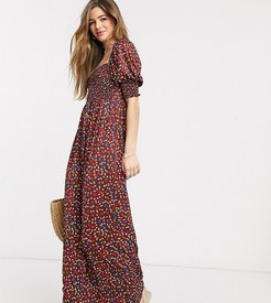 ASOS DESIGN Tall shirred bust maxi dress in wine ditsy floral print-Multi