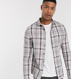 Tall skinny fit check shirt in gray-Navy
