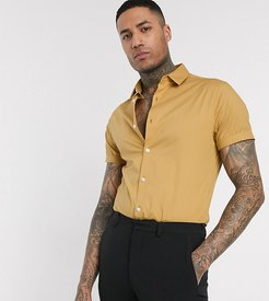 Tall skinny fit shirt in mustard with short sleeves-Yellow