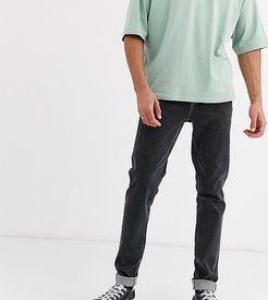 Tall slim jeans with exposed button fly in retro black