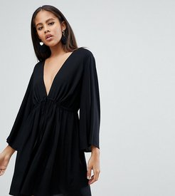 ASOS DESIGN Tall smock romper with tie waist-Blue