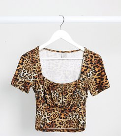 ASOS DESIGN Tall square neck top with ruched bust in animal print-Multi