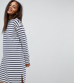 ASOS DESIGN Tall sweat dress in stripe with long sleeves-Multi