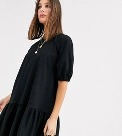 ASOS DESIGN Tall textured smock dress with tiered hem in black