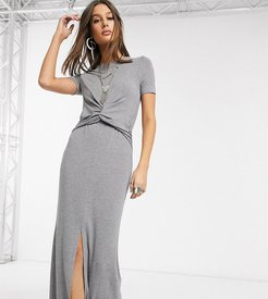 ASOS DESIGN Tall twist front maxi dress in gray