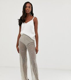 ASOS DESIGN Tall wide leg pants in mesh with embellishment-Gray