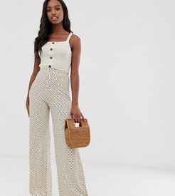 ASOS DESIGN Tall wide leg pants in neutral non-print-Multi