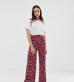 ASOS DESIGN Tall wide leg pants in paisley scarf print-Multi