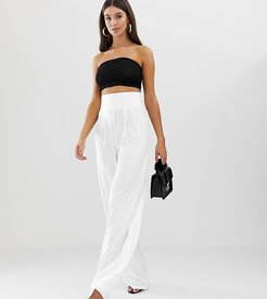 ASOS DESIGN Tall wide leg pants with deep waistband-White