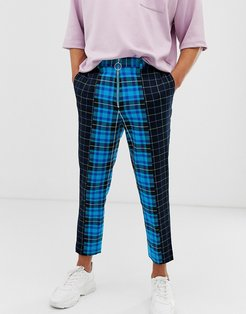 tapered crop smart pants in contrast blue checks with metal zip fly