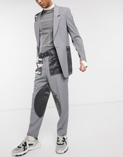tapered suit pants with cut and sew satin panels-Gray